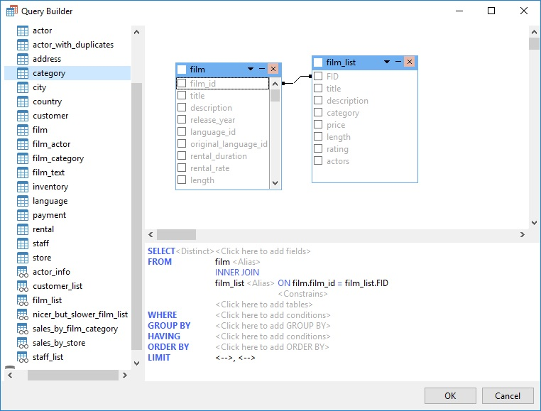Navicat Query Builder- Field Selection (Part 2)